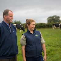 Pedigree Holstein farmer John Shanahan with Specialist Nutritions Rachel Mc Carthy who specialises in Moist Feed options